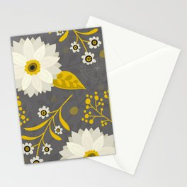 Cream and Grey Floral Collage Stationery Cards
