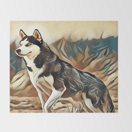 The Siberian Husky Throw Blanket