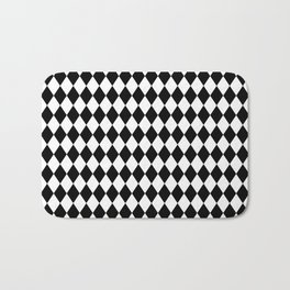 Classic Black and White Harlequin Diamond Check Bath Mat