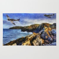 aviation Area & Throw Rugs featuring Spitfires On The Coast by Ian Mitchell