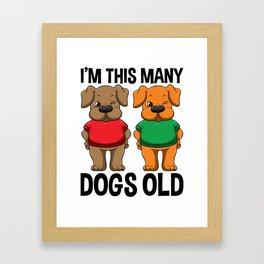 I'm This Many Dogs Old 2 Yr Boy Girl Birthday Idea Framed Art Print