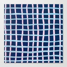 Pink and Blue Grid Canvas Print