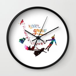 Never Grow Up Nebula Galaxy Wall Clock