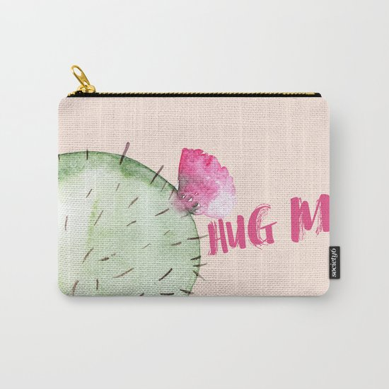Hug me- Cactus and typography and watercolor Carry-All Pouch