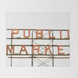 Pike Place Public Farmers Market - Sunrise Throw Blanket