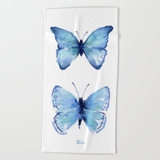 Two Blue Butterflies Watercolor Animals Insects Beach Towel
