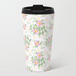 Pink Dogroses on White Travel Mug