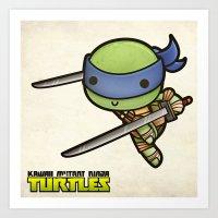 Leonardo - Kawaii Mutant Ninja Turtles Art Print
