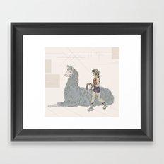 A Girl and a Llama Framed Art Print