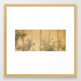 Japanese Edo Period Six-Panel Gold Leaf Screen - Spring and Autumn Flowers Framed Art Print
