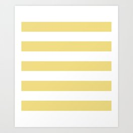Buff - solid color - white stripes pattern Art Print