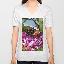 Bee on flower 9 Unisex V-Neck