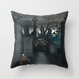 Graveyard #1 * Halloween Churchyard Scary Spooky Skeleton Tombstone Creepy Throw Pillow