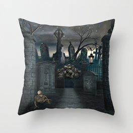 Graveyard #1 * Halloween Churchyard Scary Spooky Skeleton Tombstone Creepy Throw Pillow