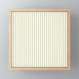 Fern Green Pinstripe on White Framed Mini Art Print