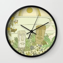 tiki gods send waves and peace swamis // retro surf art by surfy birdy Wall Clock