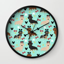 dachshund theme park vacation dogs Wall Clock