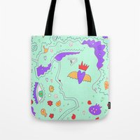 vogue Tote Bags featuring Vogue by Amanda Trader