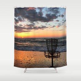 Disc Golf Basket Virginia Beach Atlantic Sunset Frisbee Chesapeake Bay Camping Shower Curtain