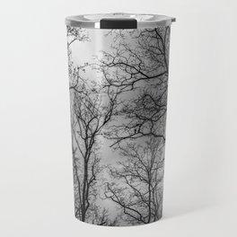 Flying tree branches, black and white Travel Mug