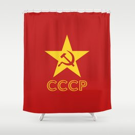 Star Hammer Sickle CCCP Design Shower Curtain