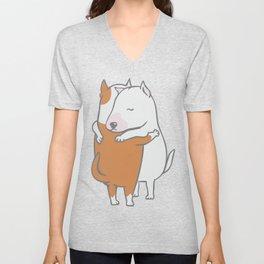 Bull Terrier Hugs Unisex V-Neck