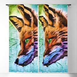 Night of the Fox Portrait Painting by Jeanpaul Ferro Blackout Curtain