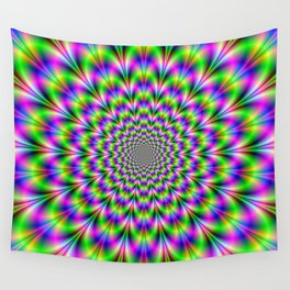 Neon Rosette in Pink Green and Blue Wall Tapestry
