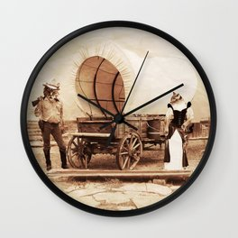 Old West Cowboy Cat and his Gal Wall Clock