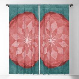Watercolor Sacred Geometry Red Flower Mandala Blackout Curtain