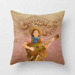 Guitars Not Guns Throw Pillow
