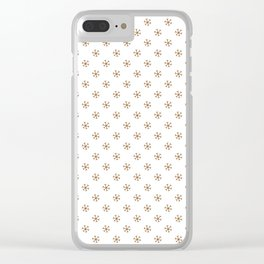 Chocolate Brown on White Snowflakes Clear iPhone Case