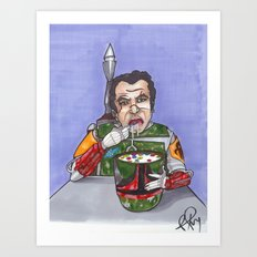 Enjoying breakfast before work Art Print