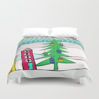 holiday Duvet Covers featuring Holiday by Zaz & Moe/Susan Delsandro Hellier