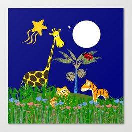 Giraffe, Tiger, Lion & White Moon on Blue Background Canvas Print