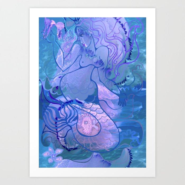 Mermaid's games Art Print
