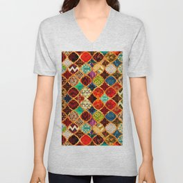 -A32- Epic Colored Traditional Moroccan Artwork. Unisex V-Neck