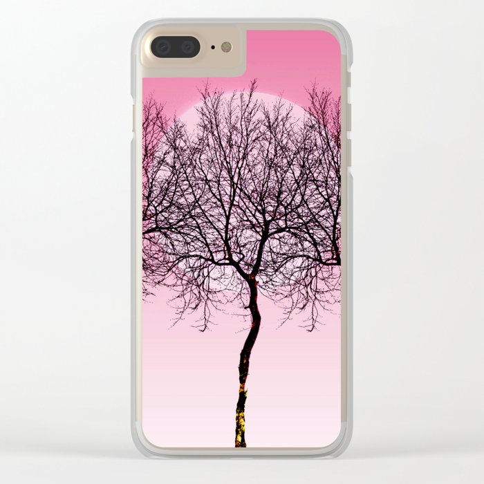 Triplet trees in pink Clear iPhone Case