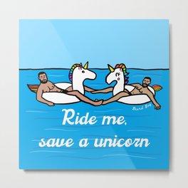 Beard By: Ride me, save a unicorn Metal Print