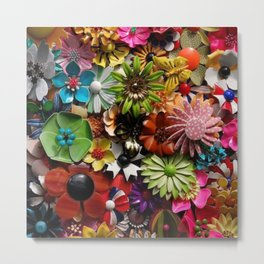 Paper Flower Meadow Metal Print