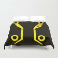 tron Duvet Covers featuring Yellow Tronic by Travis Love