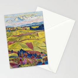 Chamonix Valley and Snow-capped French Alps landscape by Cuno Amiet Stationery Cards