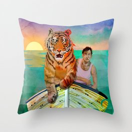 Richard Parker and Pi Throw Pillow