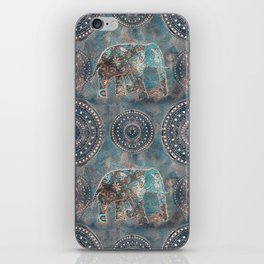 Elephant Ethnic Style Pattern Teal and Copper iPhone Skin