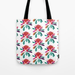 Waratah Pattern; Botanical; Floral Print; Australian Native Plant Tote Bag