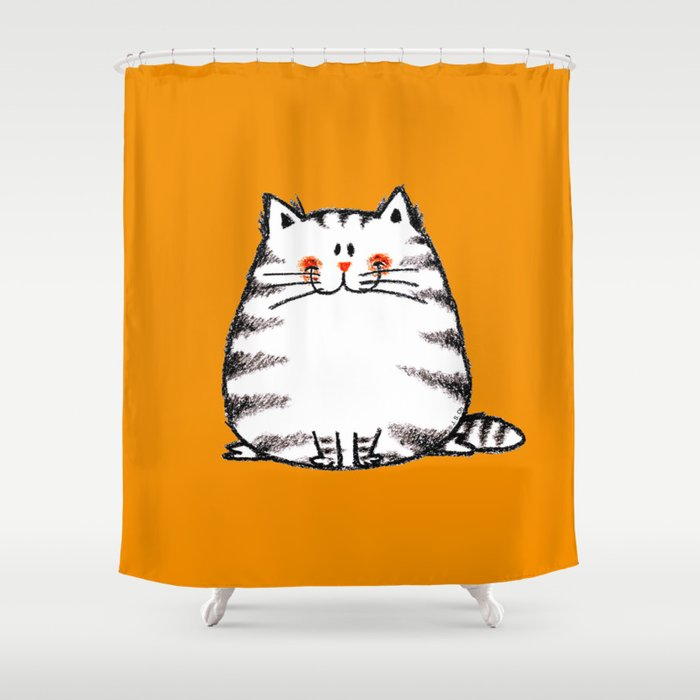 Funny Fat Cat Cartoon Shower Curtain
