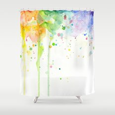Watercolor Rainbow Splatters Abstract Texture Shower Curtain