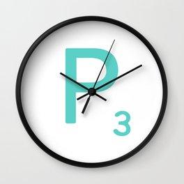 Aqua Scrabble Initial Letter P Wall Clock