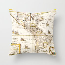Map of North and South America (1661) Throw Pillow