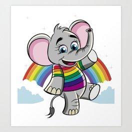 Rainbow Elephant Art Print